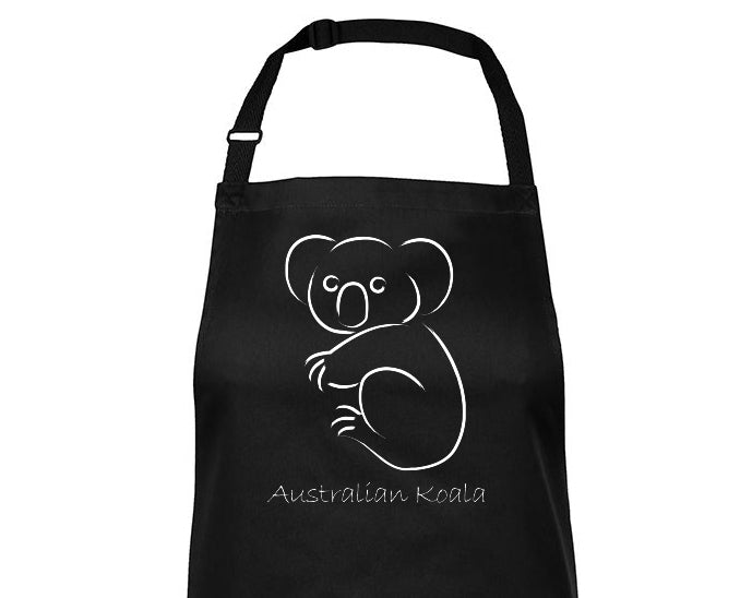 Close-up of Australian Koala Souvenir BBQ Apron (Black)