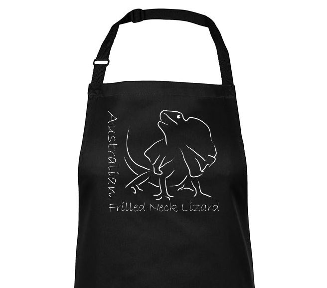 Close-up of Australian Frilled Neck Lizard Souvenir BBQ Apron (Black)