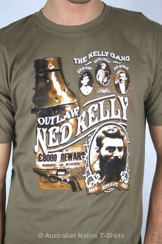 Ned Kelly Gang Adults T Shirt Brown Ned Kelly Gifts Australian
