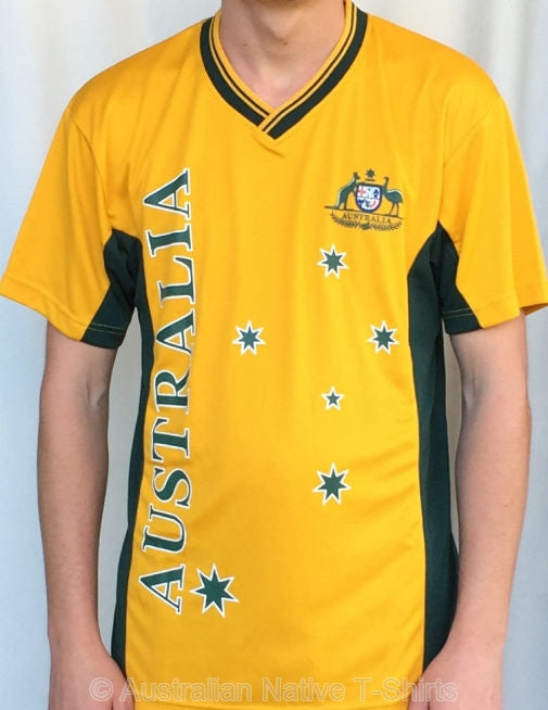 AUST Stars & Crest Poly V Neck T-Shirt (Yellow)