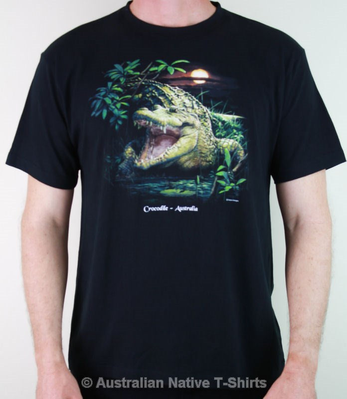Crocodile Sunset Adults T-Shirt (Black)