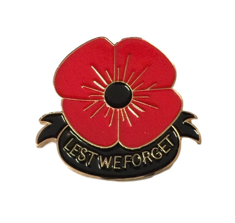 Lest We Forget Red Poppies Badge