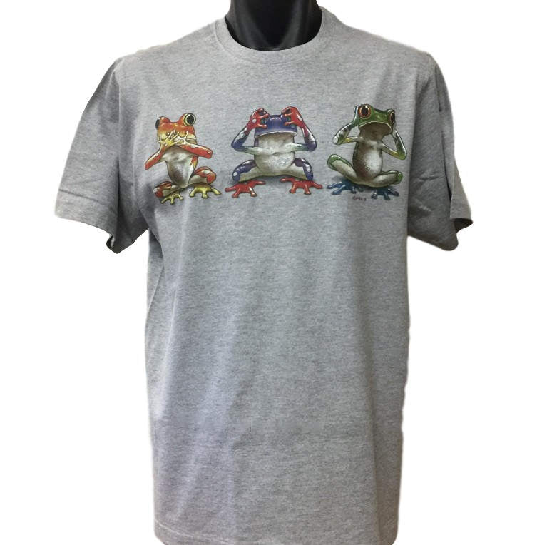 Three Wise Frogs Adults T-Shirt (Grey Marle)