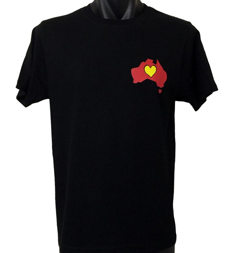 Aboriginal Flag Heart T-Shirt (Adult Sizes)