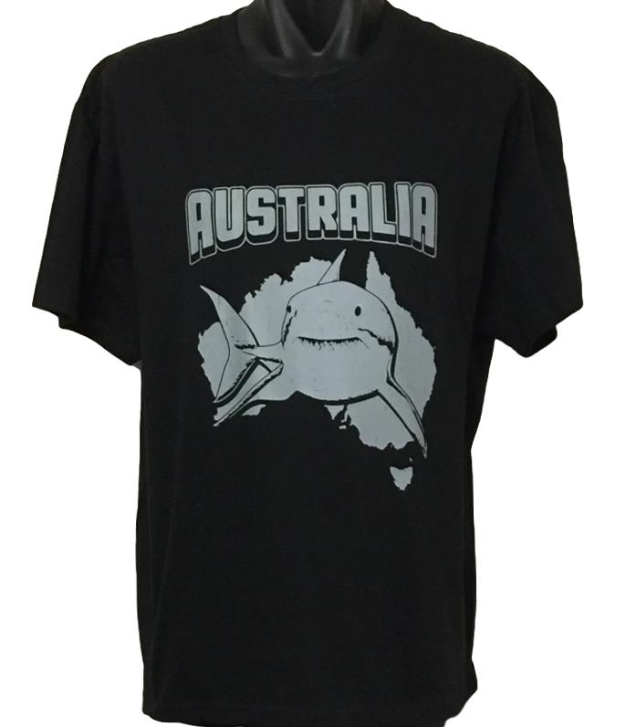 Australia Great White Shark T-Shirt (Black, Adult Sizes)