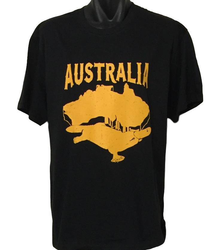 Australia Platypus T-Shirt (Black, Adult Sizes)
