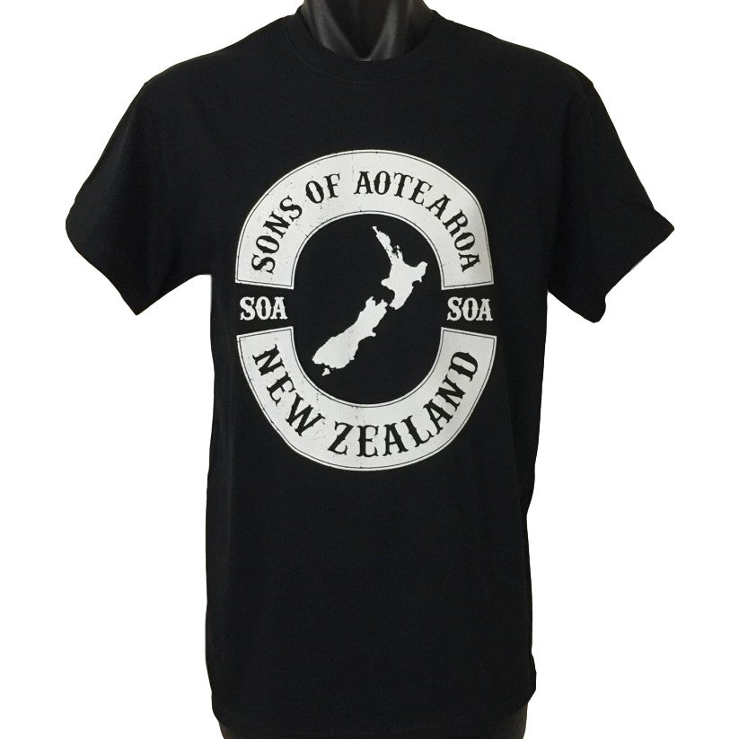 Sons of Aotearoa NZ Map T-Shirt (Black)