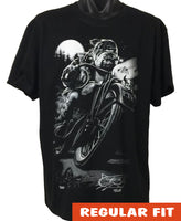 Bulldog Biker Adults T-Shirt (Black)