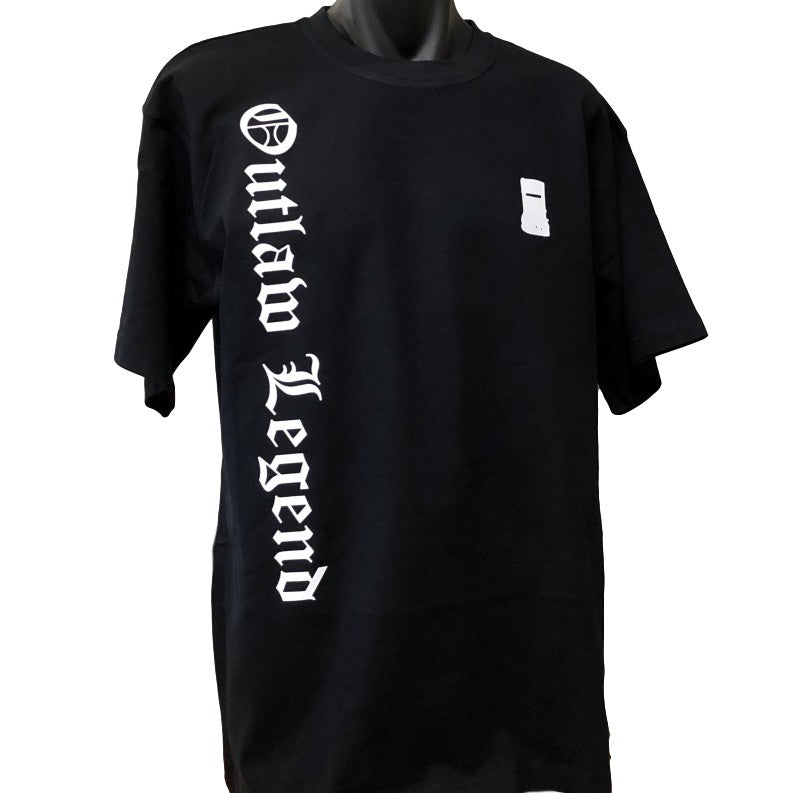Outlaw Legend Olde Text Side Print T-Shirt (Black)