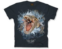 Oh SHIT! Adults Crocodile T-Shirt (Black)