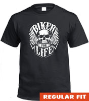 Biker For Life Adults Skull T-Shirt (Black)