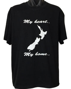 My Heart My Home New Zealand Map T-Shirt (Black)