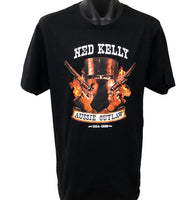 Ned Kelly Helmet Flames T-Shirt (Black)