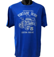Vintage Iron Hot Rod T-Shirt (Royal Blue)