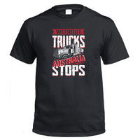 Without Trucks Australia STOPS! T-Shirt (Black)