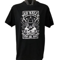 Ned Kelly Dead or Alive T-Shirt (Black with White Print)