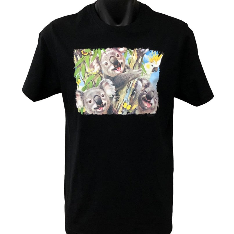 Koala Selfie Adults T-Shirt (Black)