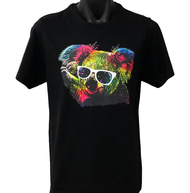 Technicolour Koala Adults T-Shirt (Black)