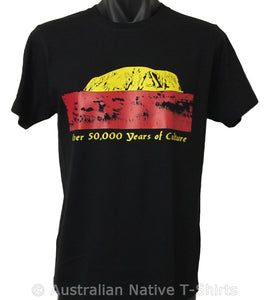 50,000 Years of Culture Colours of Aboriginal Flag T-Shirt (Adult Sizes)