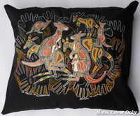 Kangaroo Survival Aboriginal Cushion Cover (Black)