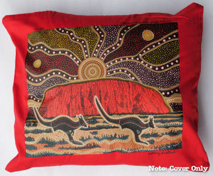 Dannys Uluru Aboriginal Cushion Cover (Red)