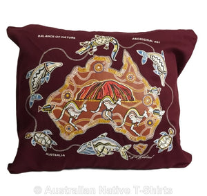 Balance of Nature Aboriginal Cushion Cover (Maroon)