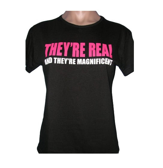 Size Medium (Petite) - They're Real & Magnificent Ladies Crop Top - Free Shipping Sale