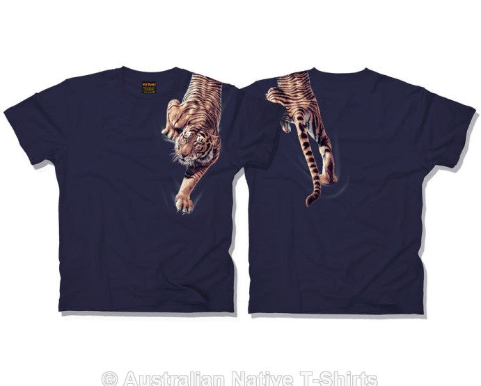 Climbing Tiger Adults T-Shirt (Navy)