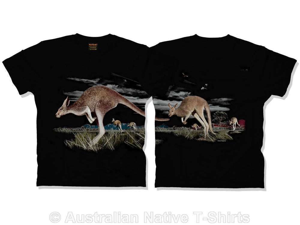 Kangaroos Double Sided Adults T-Shirt (Black)