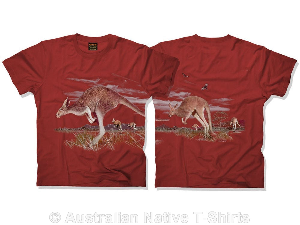 Kangaroos Double Sided Adults T-Shirt (Rust)