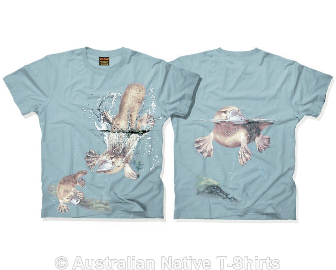 Australian Platypus Childrens T-Shirt (Dusty Blue)