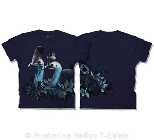 Cassowary Bird Childrens T-Shirt (Navy)