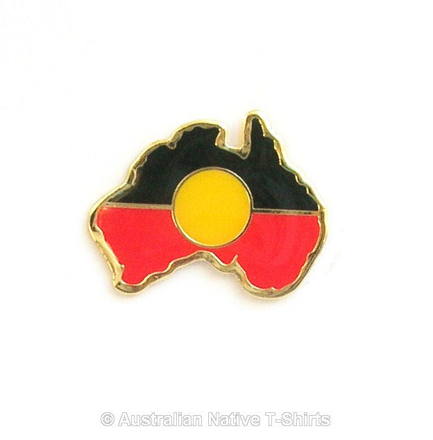 Aboriginal Flag Australia Map Badge (Small)