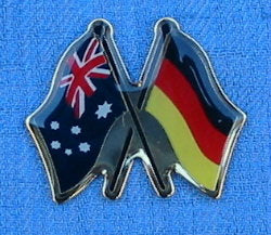 Australian Flag with German Flag Metal Badge