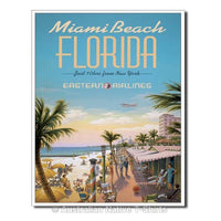 Miami Beach Travel Poster Tin Sign (31.5cm x 40.5cm)