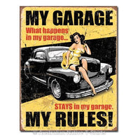 My Garage  My Rules Tin Sign (31.5cm x 40.5cm)