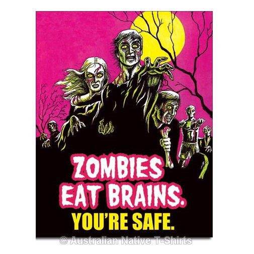 Zombies Eat Brains Tin Sign (31.5cm x 40.5cm)