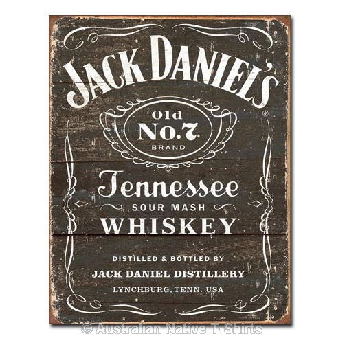 Jack Daniels Weathered Logo Tin Sign (31.5cm x 40.5cm)