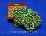 Dot Green Aboriginal Art Coasters - Set of 6