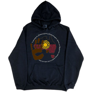 Acknowledgement of Country Aboriginal Flag Hoodie (Black)