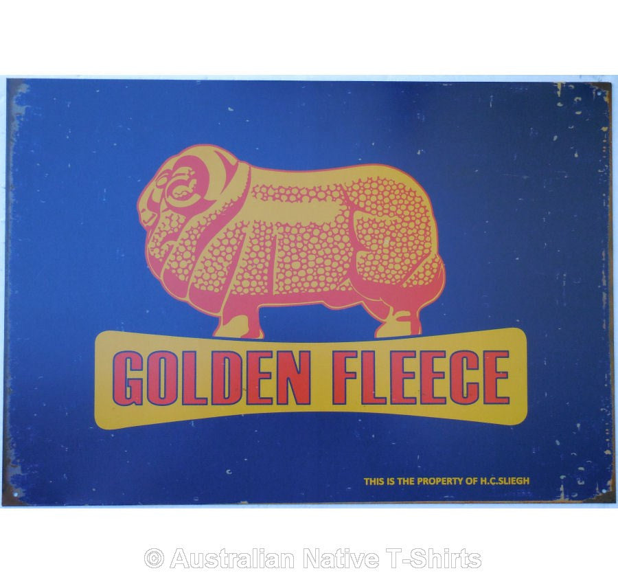 Golden Fleece Ram on Blue Tin Sign (50cm x 35cm)