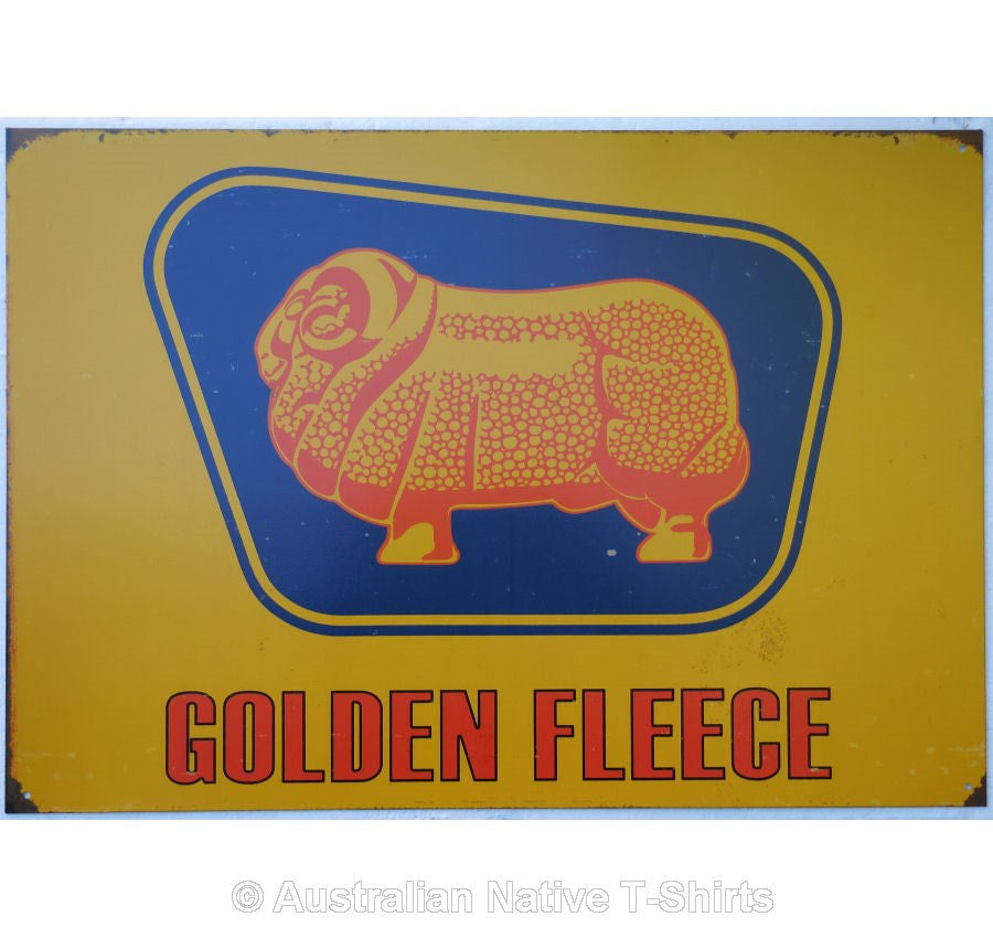Golden Fleece Ram on Gold Tin Sign (50cm x 35cm)