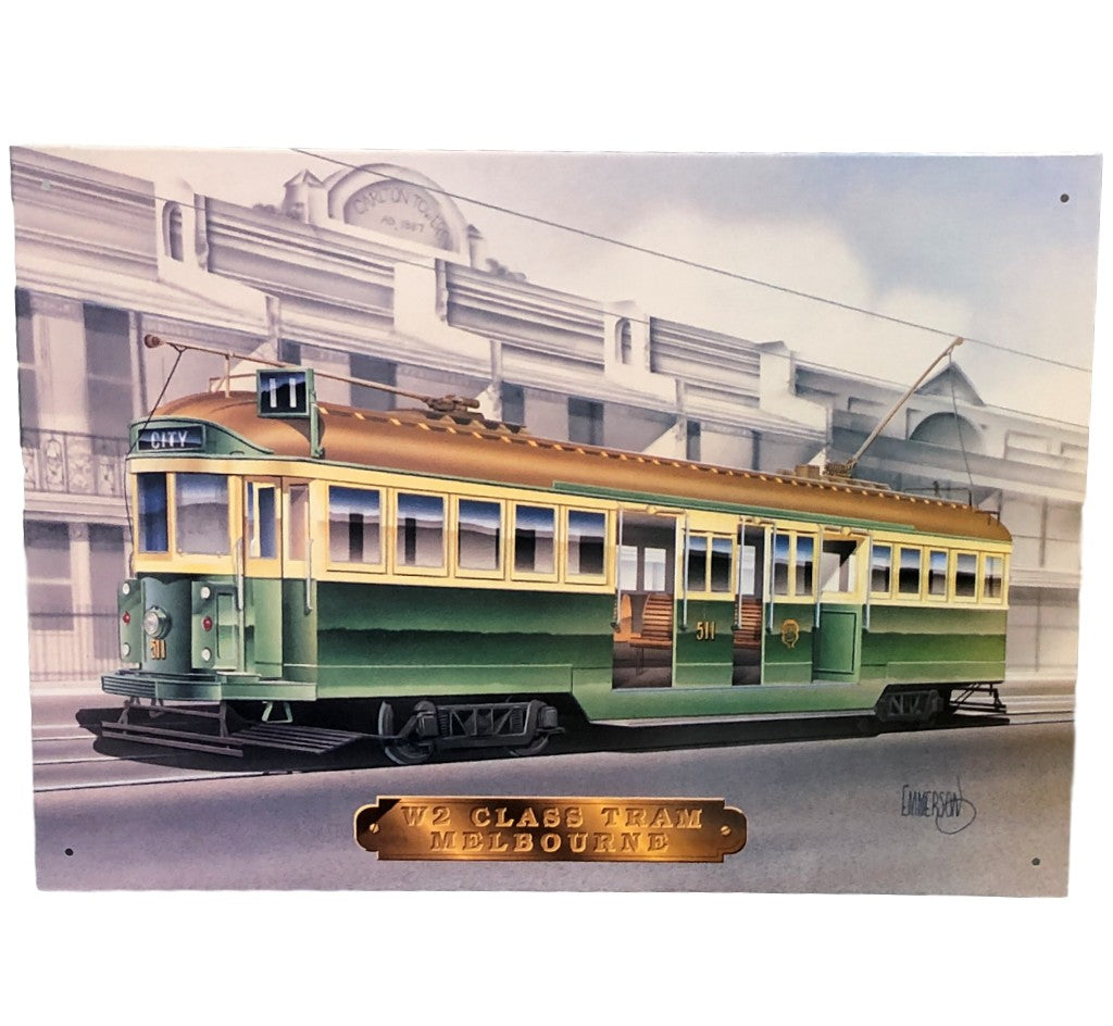 Melbourne W2 Class Tram Tin Sign (28.5cm x 40.5cm)