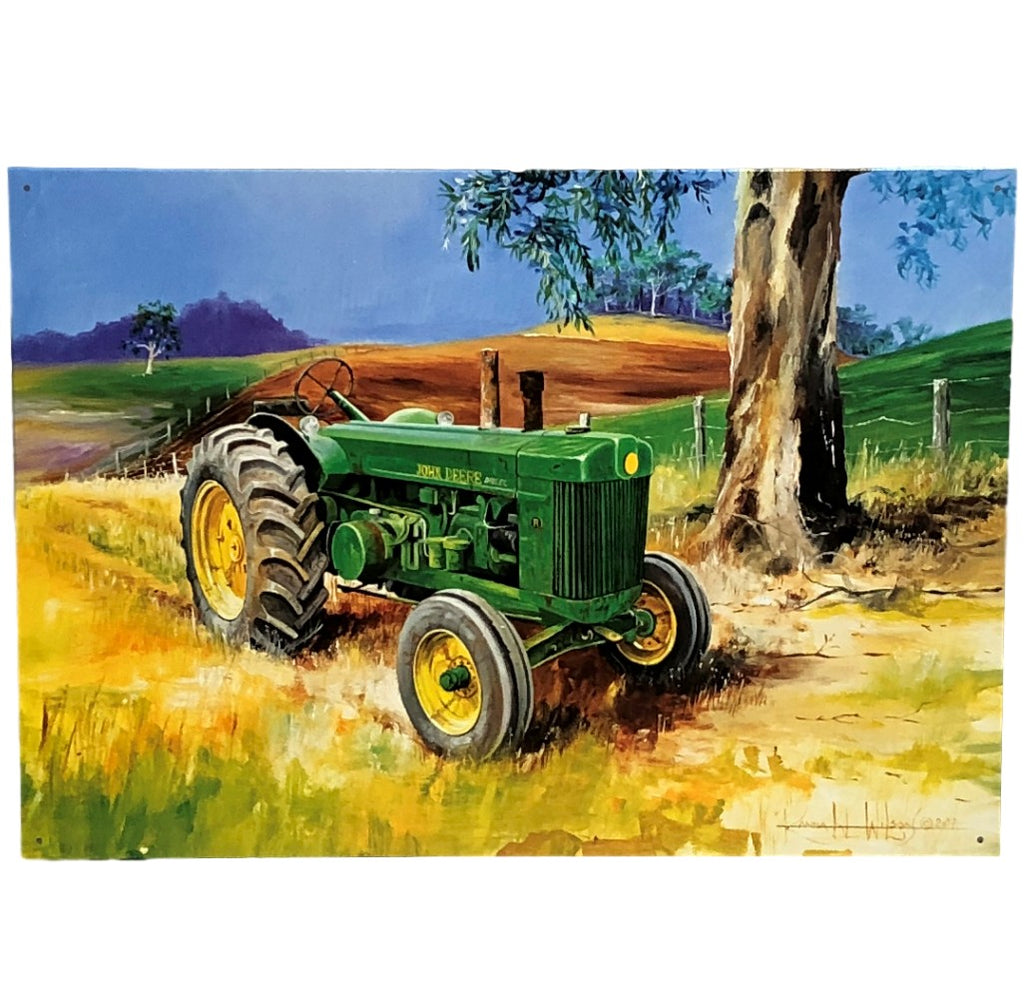 Aussie Farm Scene JD Tractor Tin Sign (50cm x 35cm)