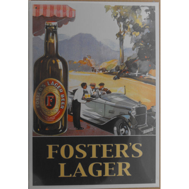 Fosters Beer - Old Roadster Tin Sign (28.5cm x 40.5cm)