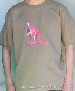 Arty Kangaroo Adults T-Shirt (Khaki)