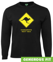 Kangaroos Next 10km Road Sign Longsleeve T-Shirt (Black)