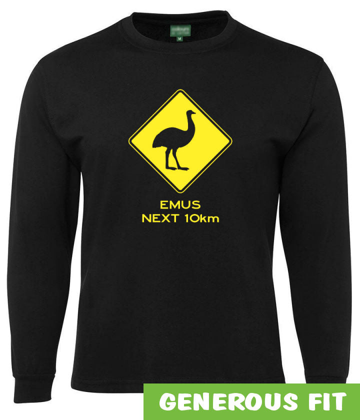 Emus Next 10km Road Sign Longsleeve T-Shirt (Black)