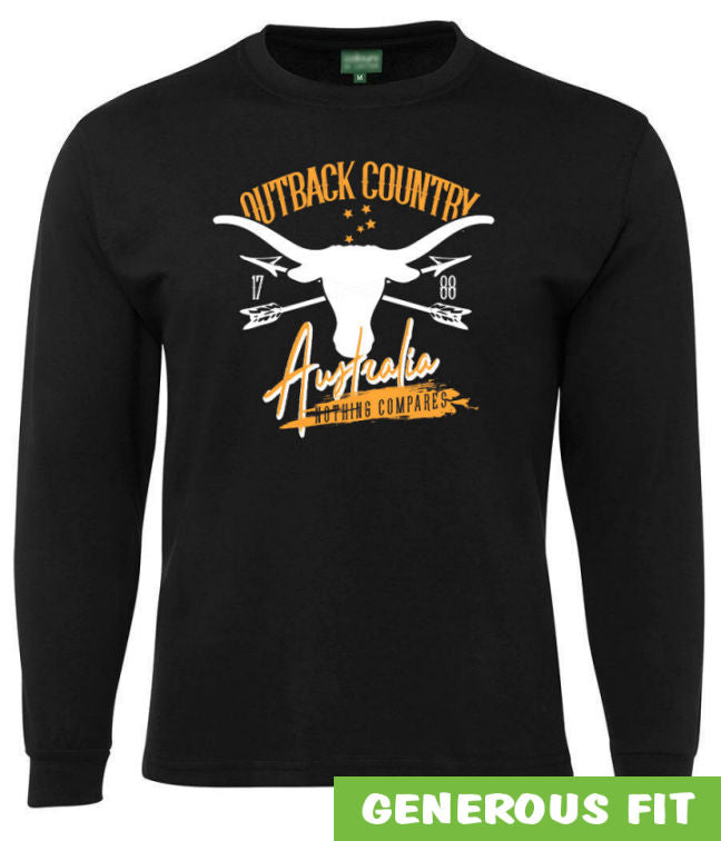 Australia Outback Country Longsleeve T-Shirt (Black)
