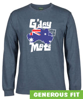 G'day Mate Map Longsleeve T-Shirt (Denim Marle)
